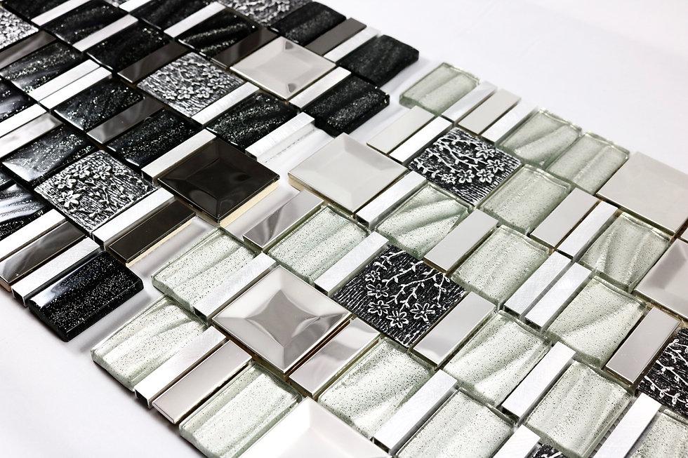 Wavy Glass Tiles, Hand Painted Ceramic, Mirrella Tiles