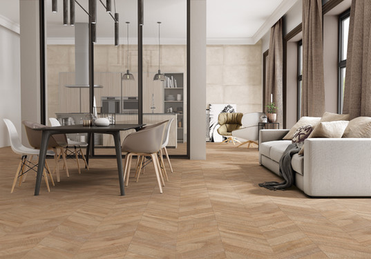"24""x48"" Chevron Artwood Natural Porcelain Tile"