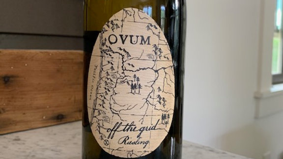 Ovum Off the Grid Riesling, long finish of citrus, grapefruit rind and wet stone