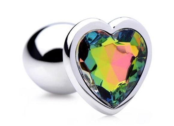 RAINBOW PRISM HEART SMALL ANAL PLUG