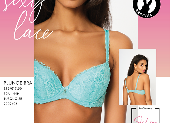 SEXY LACE PLUNGE BRA - TURQUOISE