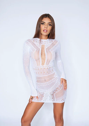 JEWELLED JANELLE DRESS - White