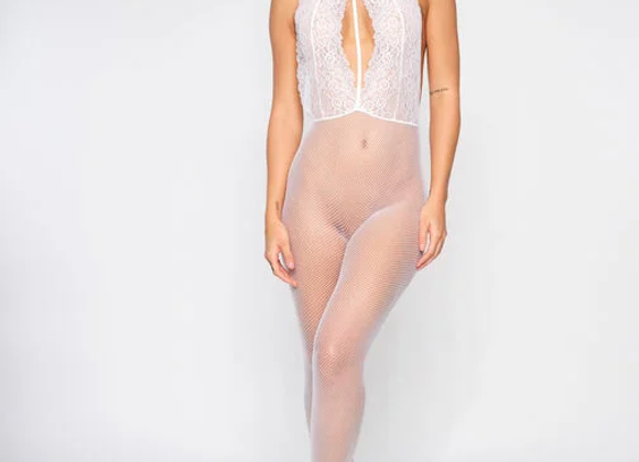 DREAM GIRL CROTCHLESS BODT STOCKING - Ivory