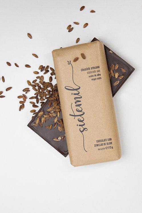 Sietemil Chocolate Artesano elaborado con Aceite de Oliva Virgen Extra. Con Semi