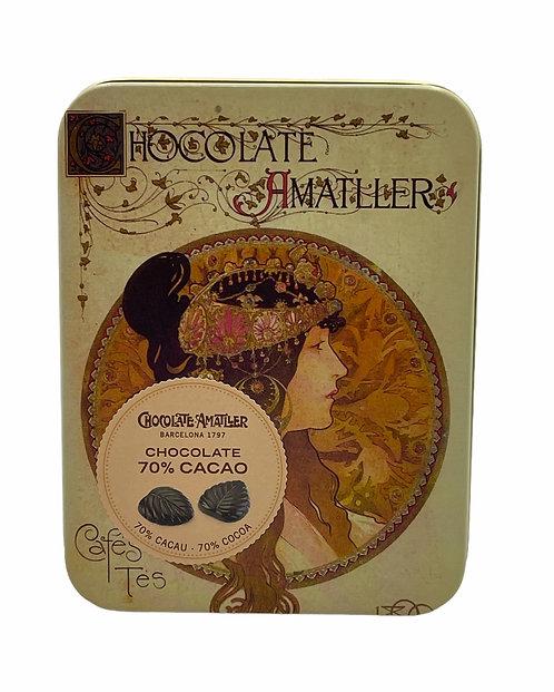 Hojas finas de chocolate 70% cacao Amatller