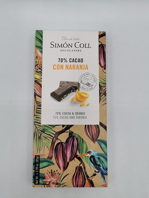 Simón Coll 70%cacao con Naranja