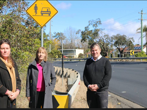 Shadow Spokesperson for Active Transport, Jo Haylen and BM MP, Trish Doyle inspect Pinch Points