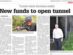 Glenbrook Tunnel receives a further $2.5M in funding.