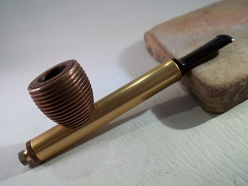 RESTORED VINTAGE METAL BOWERS MFG CO ESTATE PIPE WITH ALUM/BRIAR BOWL RARE