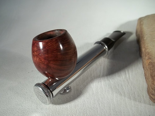 "RARE 40""S ESTATE PIPE ""COLUMBIA SILVER CO."" ALUMINUM, BRIAR BOWL, ORIG. PARTS"