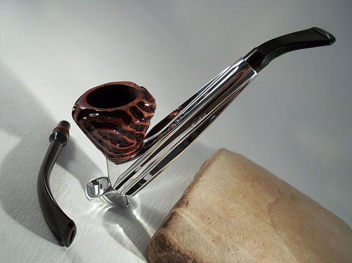 """STUNNING VINTAGE KIRSTEN """"P"""" WITH CUSTOM MADE SITTER AND 2 STEMS ESTATE PIPE"""