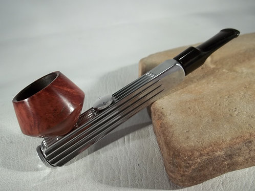 "RESTORED ALUMINUM ""WALDORF BON SENIOR "" ESTATE PIPE,VULCANITE BIT BRIAR BOWL"