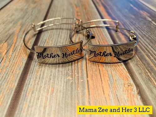 Mother Hustler Silver Bangle Bracelet (single)