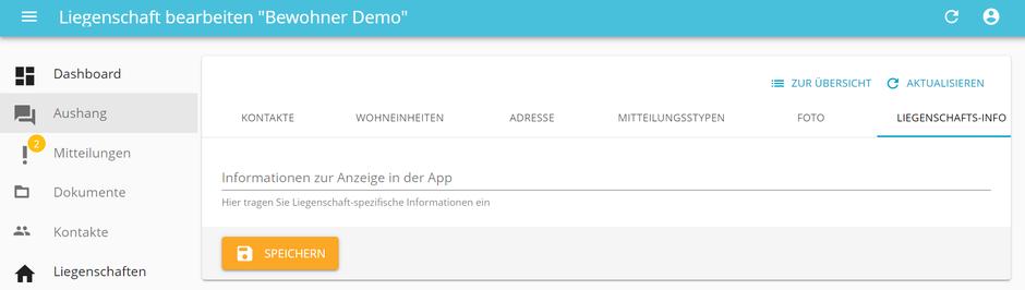 Neue Funktion: Liegenschafts-Infos in der Bewohner-App
