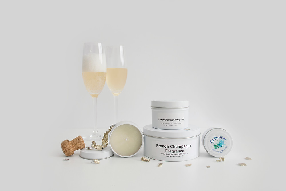 french champagne natural soy scented candle made in NZ for Salt & Oil bath soaks