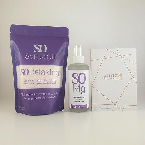 Salt & Oil gratitude gift set, relaxing bath soak, magnesium oil spray for wellbeing and gratitude journal