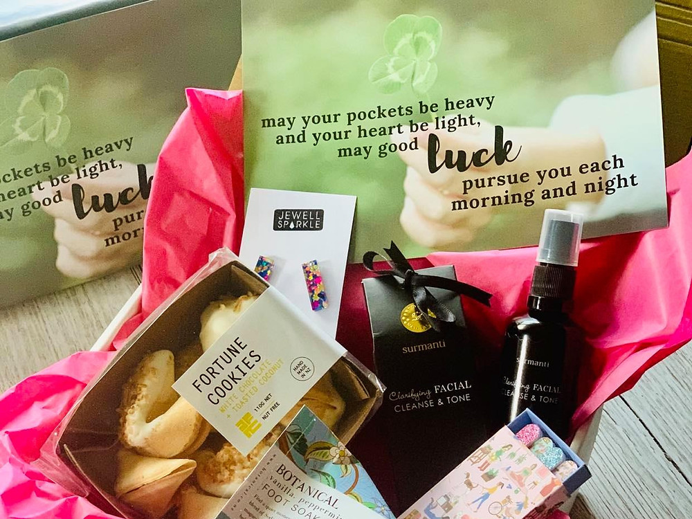little & luxe subscription gift box with foot soak, earrings and treats
