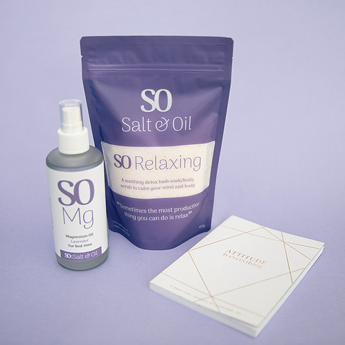 gratitude journal gift set with Salt & Oil magnesium oil spray and relaxing lavender bath soak made in NZ