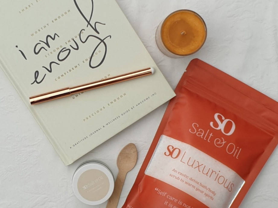 gratitude journal, soy candle, clay mask and luxurious bath soak from Salt & Oil to relax in the bath