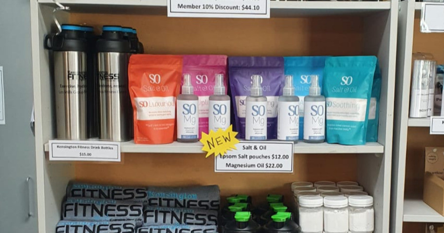 salt and oil bath soak & body scrub pouches for sale at Kensington Fitness in Whangarei