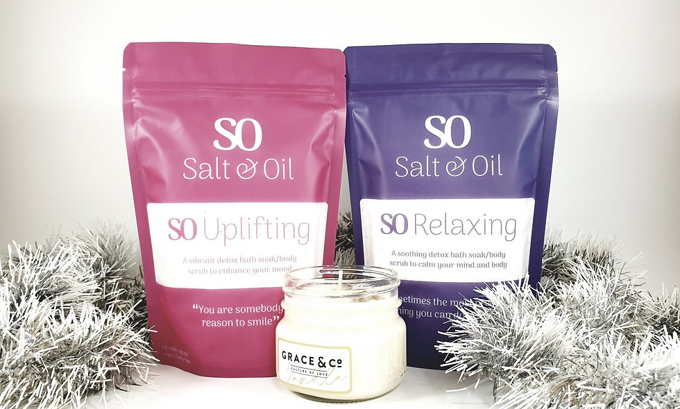 uplifting and relaxing bath soaks and soy candle made in New Zealand