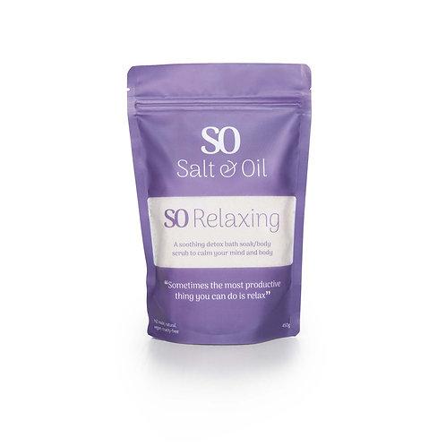 SO Relaxing bath soak bath salts shower scrub foot soak to support sleep and relaxation