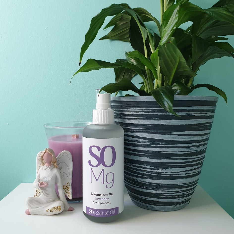 lavender magnesium oil spray to help you sleep and relax. kept on your bedside table so you use it every night before bed