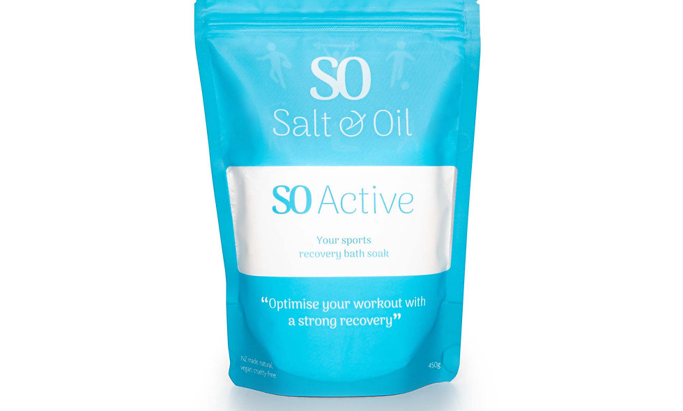 SO Active bath soak bath salts NZ. Sore muscle relief for after sports and exercise