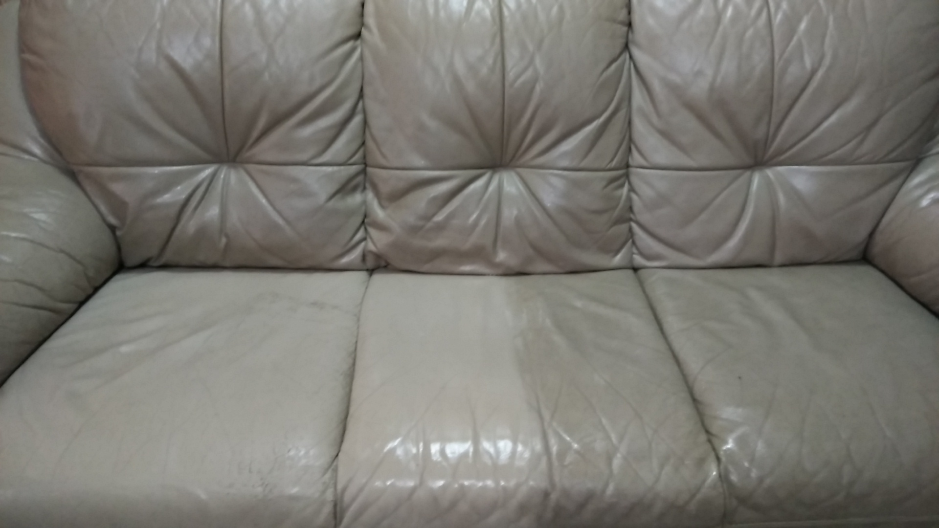 Leather sofa partly cleaned