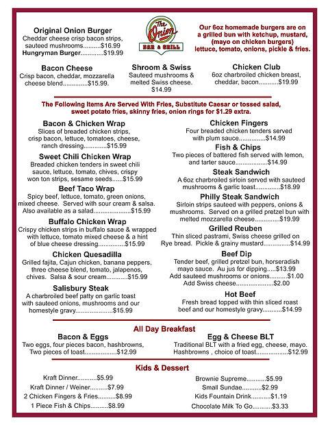 The onion limited menu