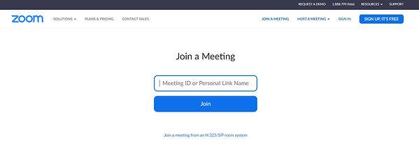 Screenshot of ZOOM login screen