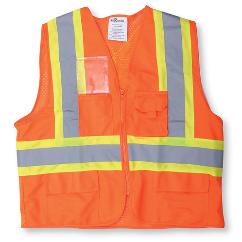 Orange 100% Polyester Mesh and Zipper Safety Vest