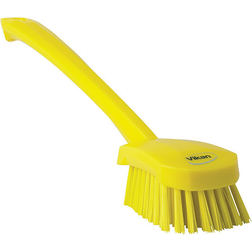 Vikan Yellow Long Handle Brush - Stiff