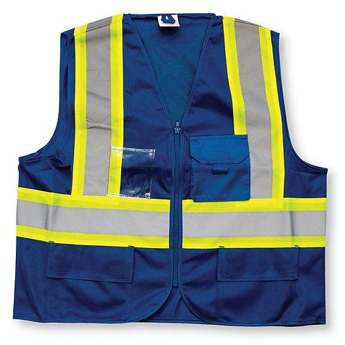 Royal Blue 100% Polyester Zipper Safety Vest