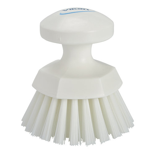Vikan White Round Scrub Brush - Stiff