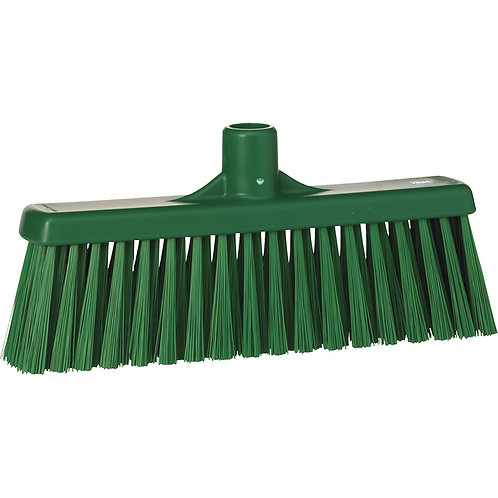 "Vikan 12"" Green Broom - Straight Neck Medium Bristled"