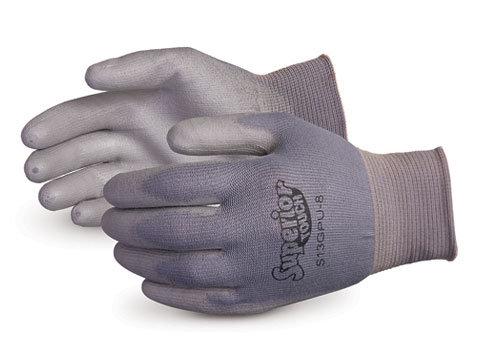 Superior Touch® 13-gauge Grey Nylon Knit with Polyurethane Palms