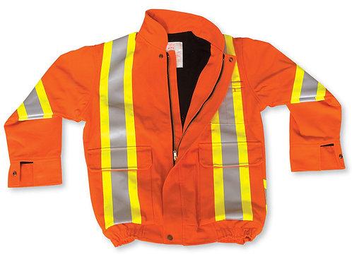 Orange 100% Cotton Bomber Jacket w/ Fleece Lining