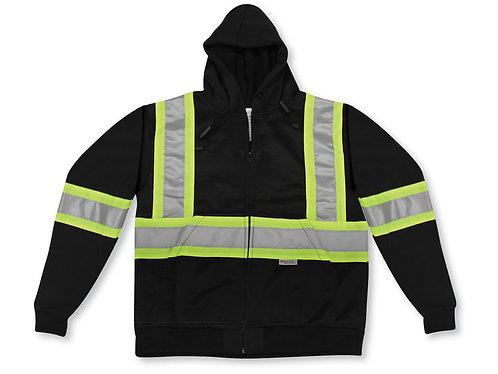 Black 100% Polyester Full Zipper Hoodie