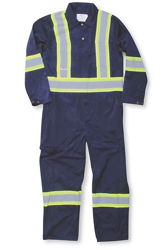 Hi Vis Navy Blue 100% Cotton Traffic Safety Coverall
