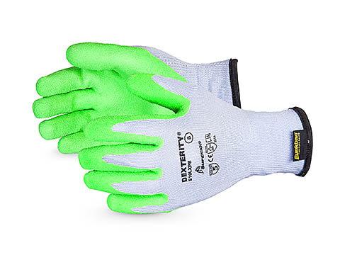 Dexterity® 10-Gauge Cotton/Poly Knit Glove with Hi-Viz Latex Palm Lined with Pun
