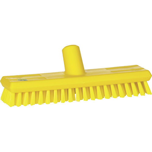 Vikan Yellow Deck Scrub - Stiff Bristled