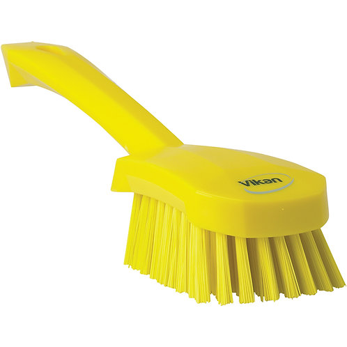 Vikan Yellow Short Handle Brush - Stiff