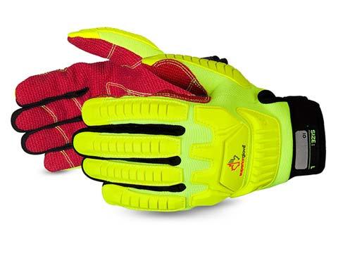 Clutch Gear® Anti-Impact Hi-Viz Yellow Back Mechanics Oilfield Glove with Cut-Re