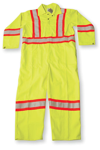 Lime Green Poly/Cotton Safety Coverall