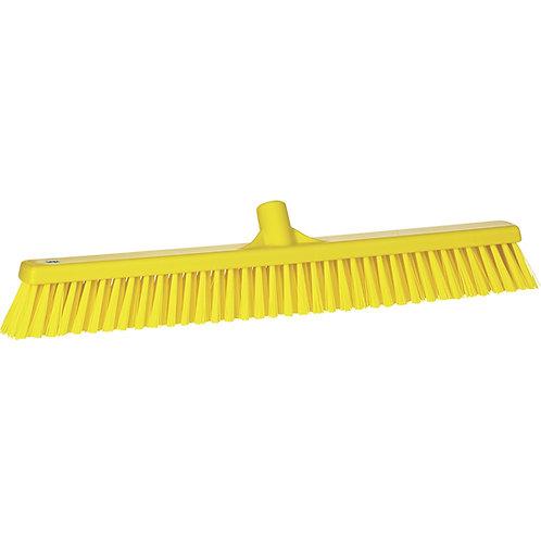 """Vikan 2""""x24"""" Yellow Broom - Soft/Stiff Bristled"""