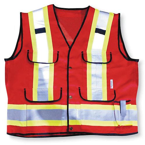 Red Poly/Cotton Mesh Supervisor Safety Vest