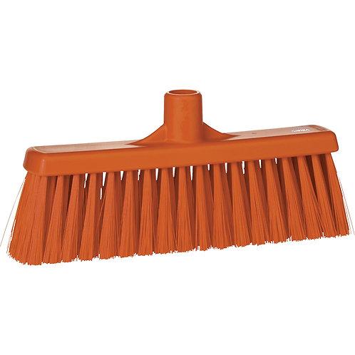 """Vikan 12"""" Orange Broom - Straight Neck Medium Bristled"""