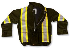 Black Poly/Cotton Bomber Jacket w/ Fleece Lining