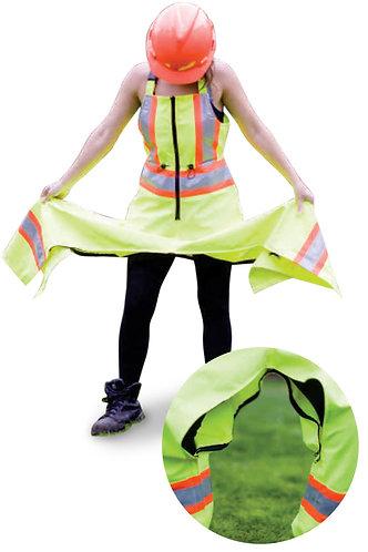 Woman's Lime Green Poly-Spandex Hi-Visibility Bib Rain Pant